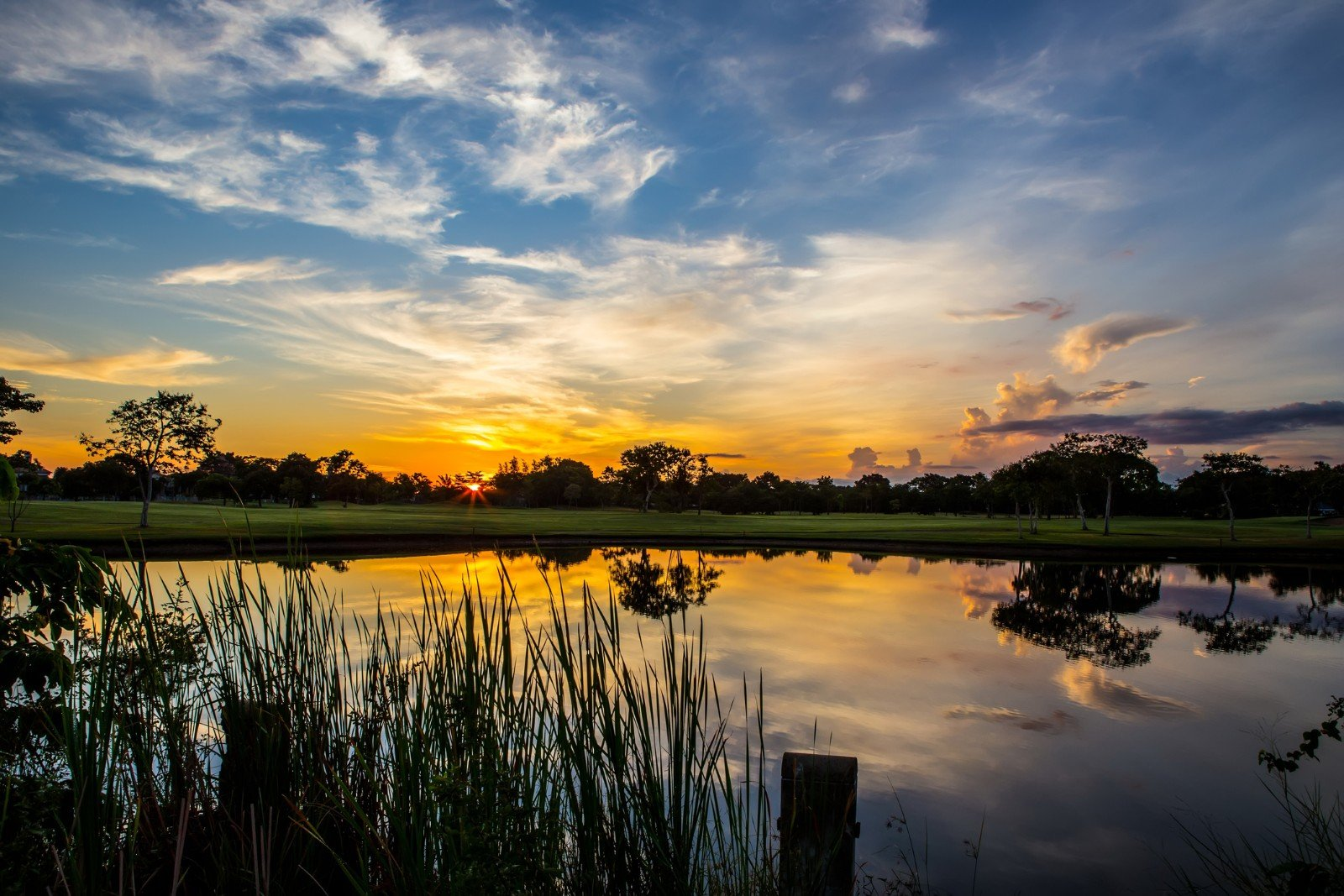 Sunset reflection on the water in Melbourne, FL